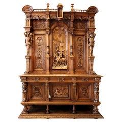 Solid Walnut Monumental Hand Carved Italian Renaissance Court Cabinet circa 1860