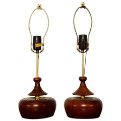 Solid Walnut Pair of Table Lamps Nakashima Simple Style Midcentury, 1950s