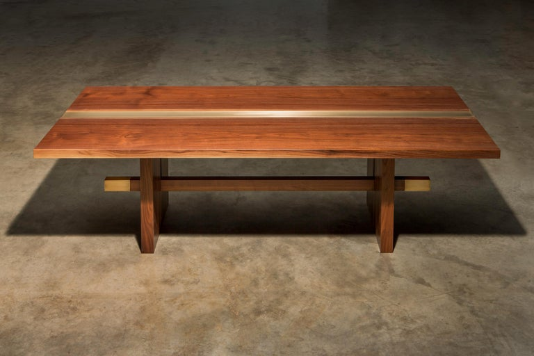American Solid Walnut with Brass Inlay on Solid Walnut Base