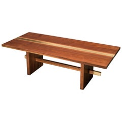 "Solid Walnut with Brass Inlay on Solid Walnut Base ""Dequindre Dining Table"""