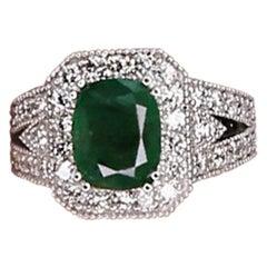 Solid White Gold 18 Karat Diamond 3.17 Carat Natural Emerald Ring for Her