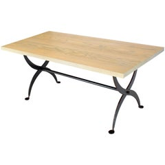 Solid White Wash Finish Oak Top Scissor Wrought Iron Base Harvest Dining Table