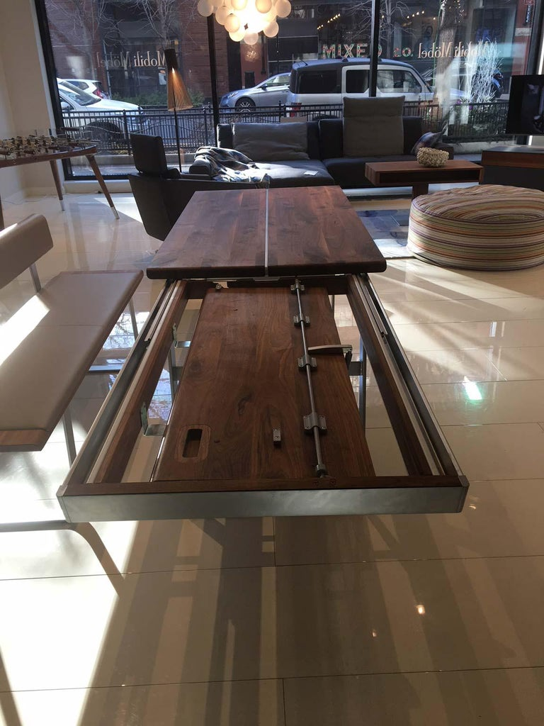 Solid Wild Walnut Wood Extending table Matt Chrome Skid Base For Sale 3