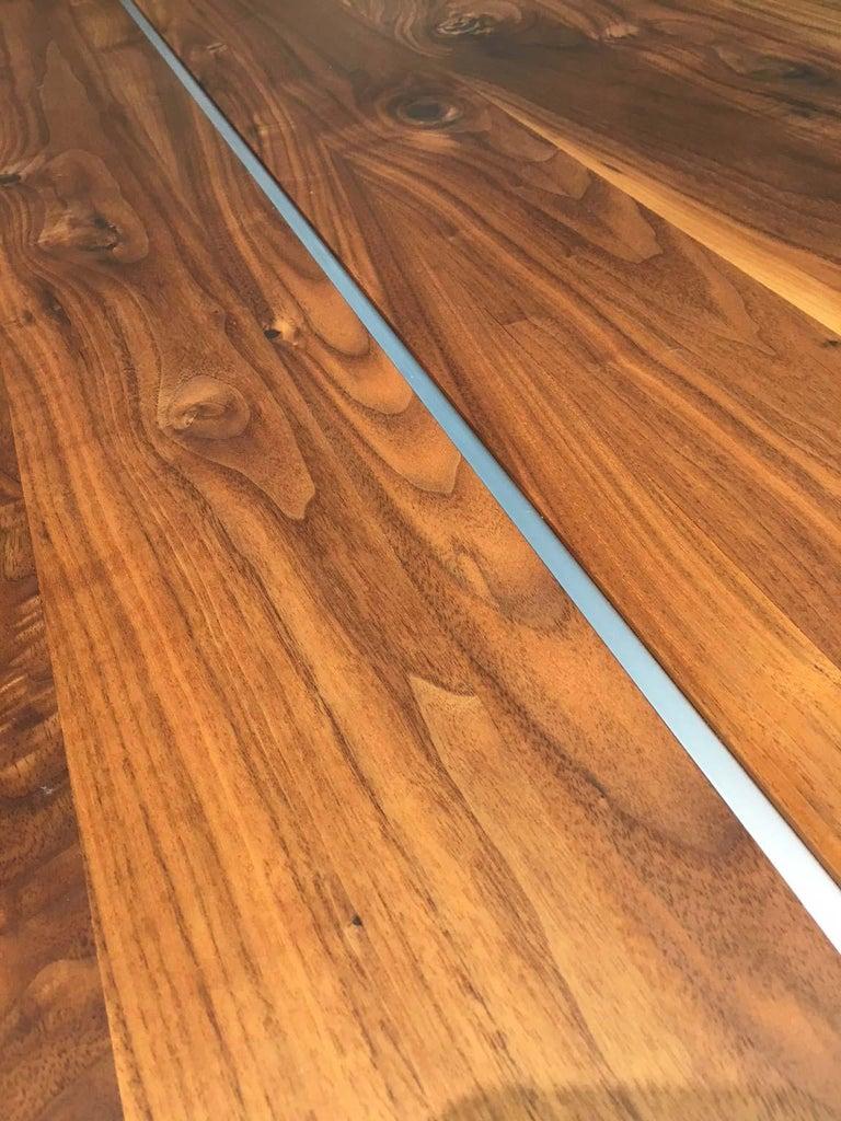 Solid Wild Walnut Wood Extending table Matt Chrome Skid Base For Sale 4