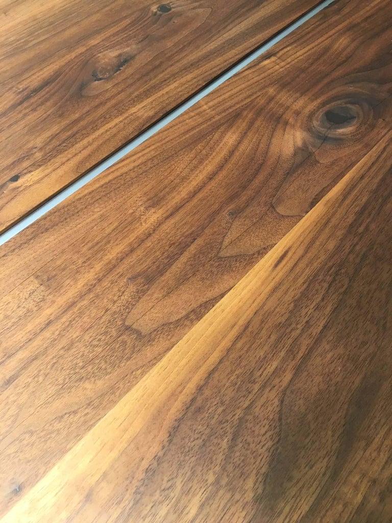 Solid Wild Walnut Wood Extending table Matt Chrome Skid Base For Sale 7