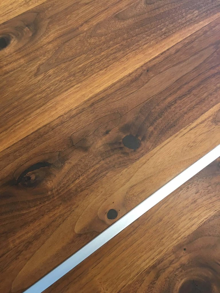 Solid Wild Walnut Wood Extending table Matt Chrome Skid Base For Sale 9