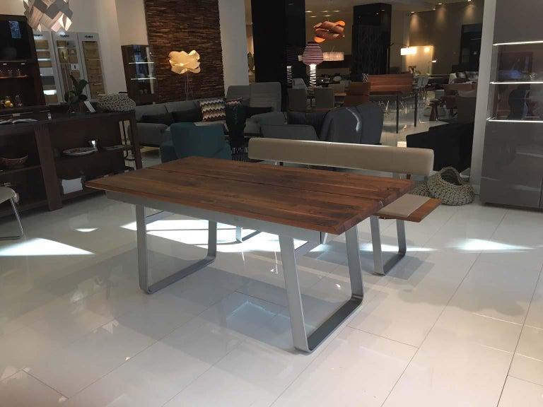 Modern Solid Wild Walnut Wood Extending table Matt Chrome Skid Base For Sale