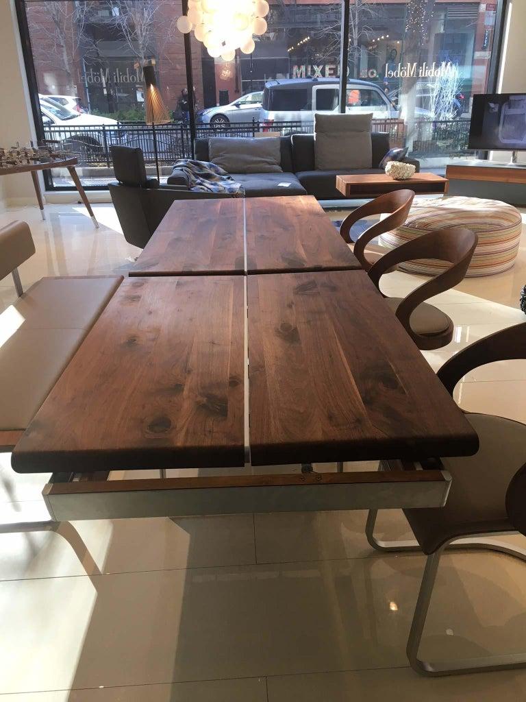 Brushed Solid Wild Walnut Wood Extending table Matt Chrome Skid Base For Sale