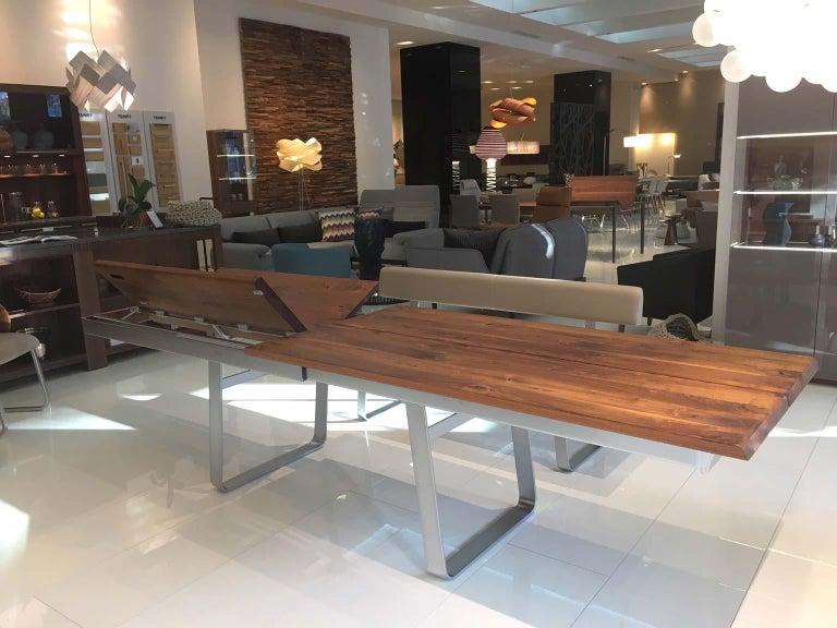 Solid Wild Walnut Wood Extending table Matt Chrome Skid Base For Sale 1
