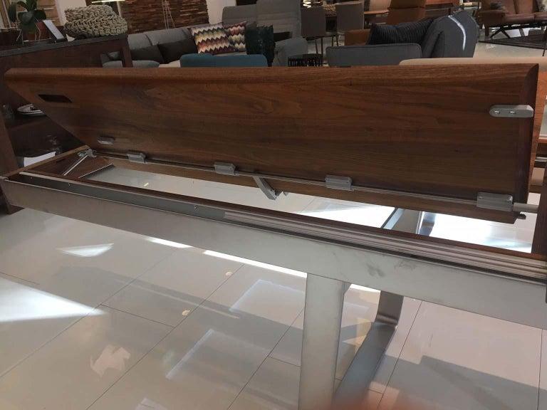 Solid Wild Walnut Wood Extending table Matt Chrome Skid Base For Sale 2