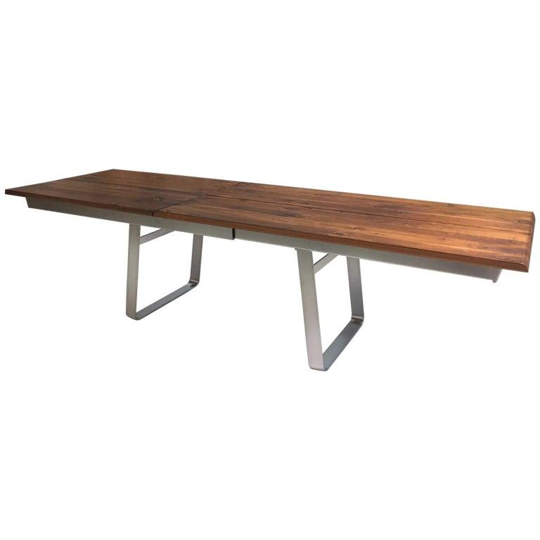 Solid Wild Walnut Wood Extending table Matt Chrome Skid Base For Sale