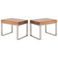 Solid Wood Accent Bench Tables with Steel Bases, Pair