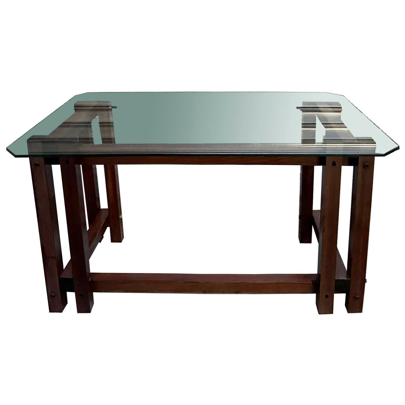 Solid Wood and Glass Desk, Italy, 1970s