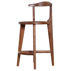 Solid Wood Bar or Counter Stool, Walnut Oak Ash