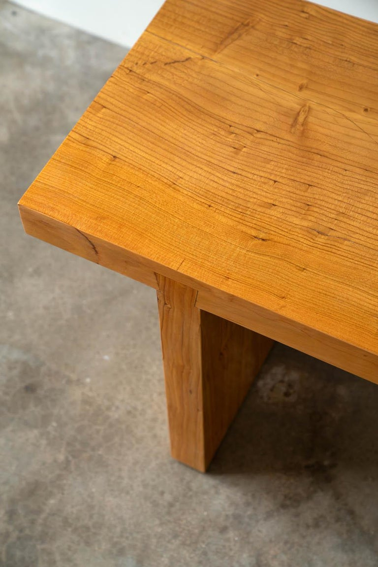 American Asian Inspired Solid Wood Bench in Hemlock for Entry Bench or End of Bench Bench For Sale