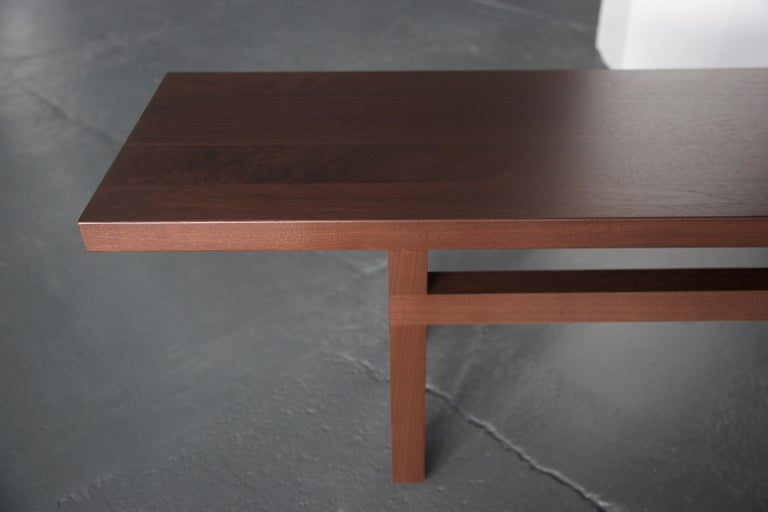 American Solid Wood Contemporary Bench in Walnut by Bellboy For Sale