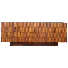 Solid Wood Credenza, USA, 1970s