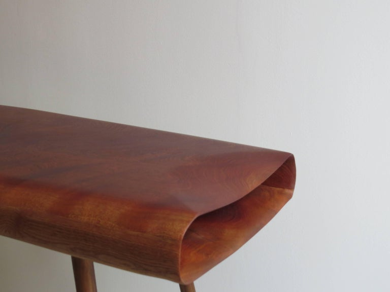 Hand-Crafted Solid Wood Desk Console Handmade in Organic Design For Sale