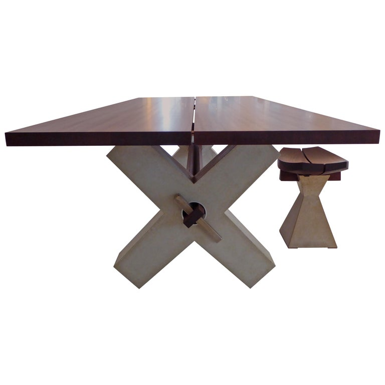 Solid Wood Dining Table with Concrete Base, Modern For Sale