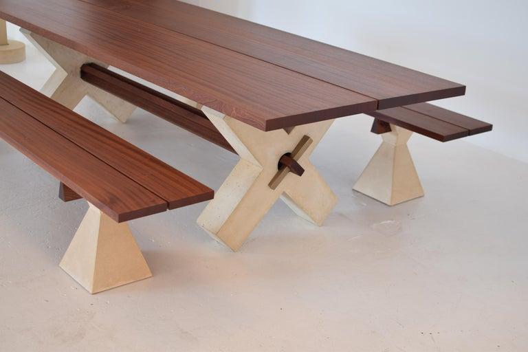 Solid Wood Dining Table With Concrete Base Modern For Sale At 1stdibs