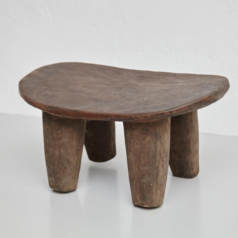 Solid Wood Handmade African Stool, circa 1950 For Sale 8
