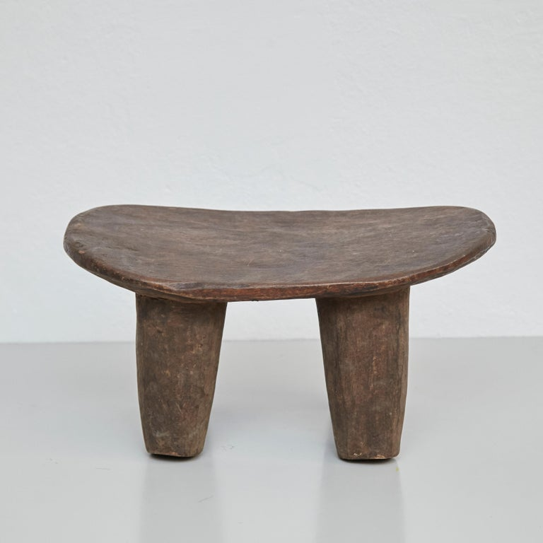 Solid Wood Handmade African Stool, circa 1950 For Sale 9