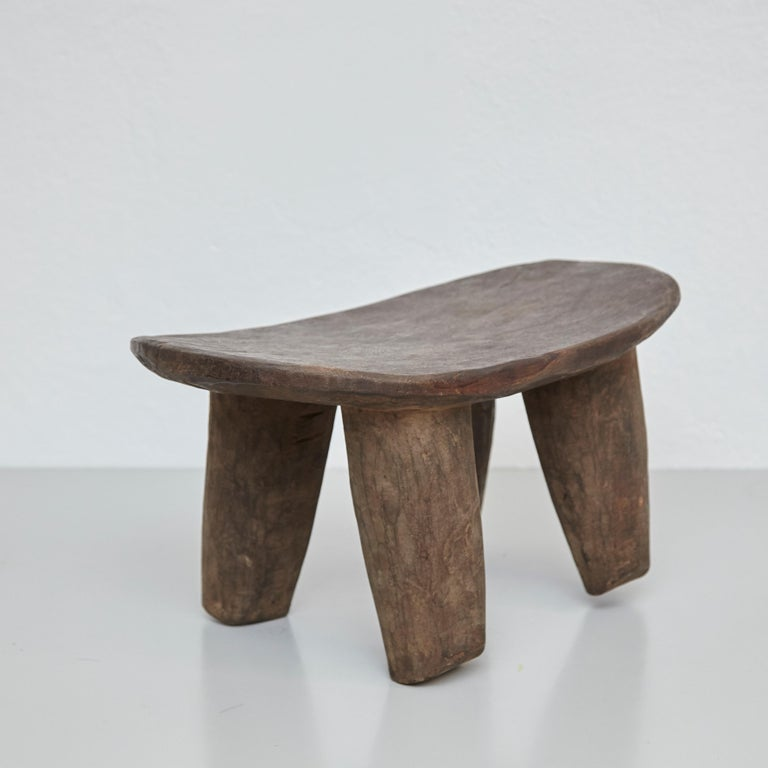 Brutalist Solid Wood Handmade African Stool, circa 1950 For Sale