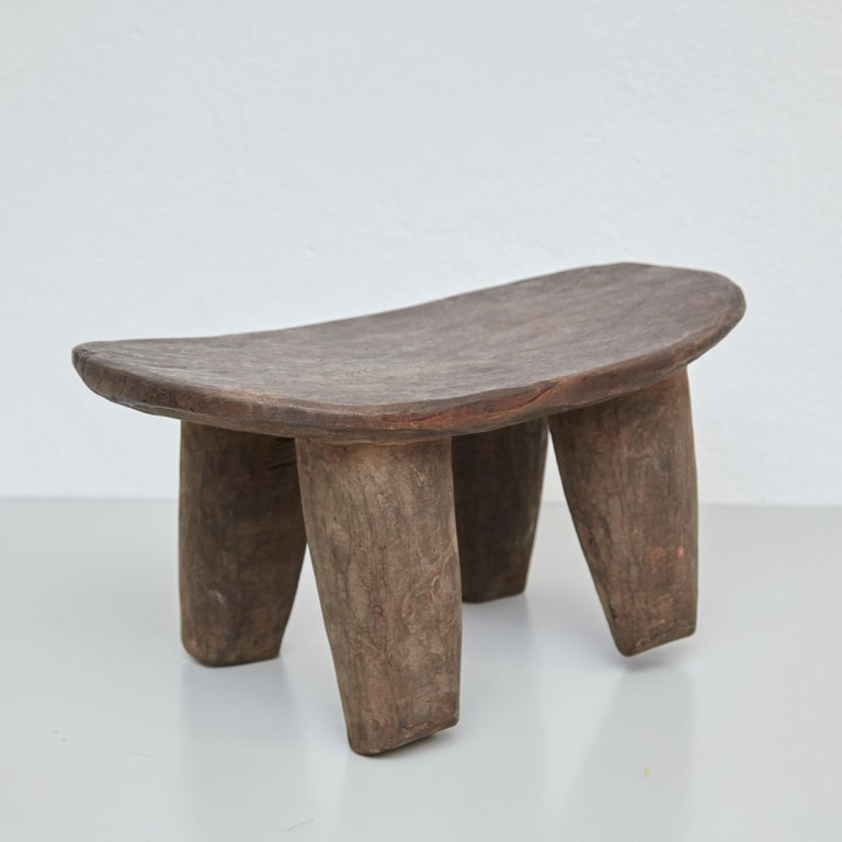 Solid Wood Handmade African Stool, circa 1950 In Good Condition For Sale In Barcelona, Barcelona
