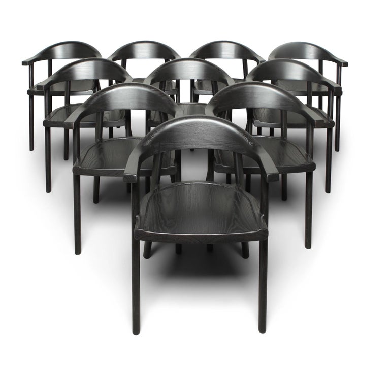 American Craftsman Solid Wood Karve Dining Chair in Black Ash by Möbius Objects For Sale