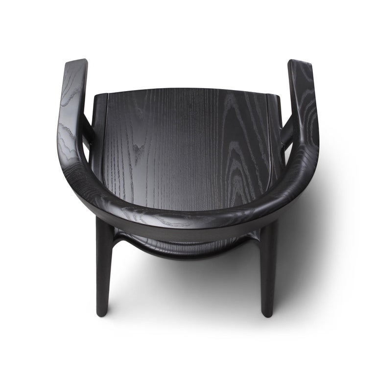Canadian Solid Wood Karve Dining Chair in Black Ash by Möbius Objects For Sale