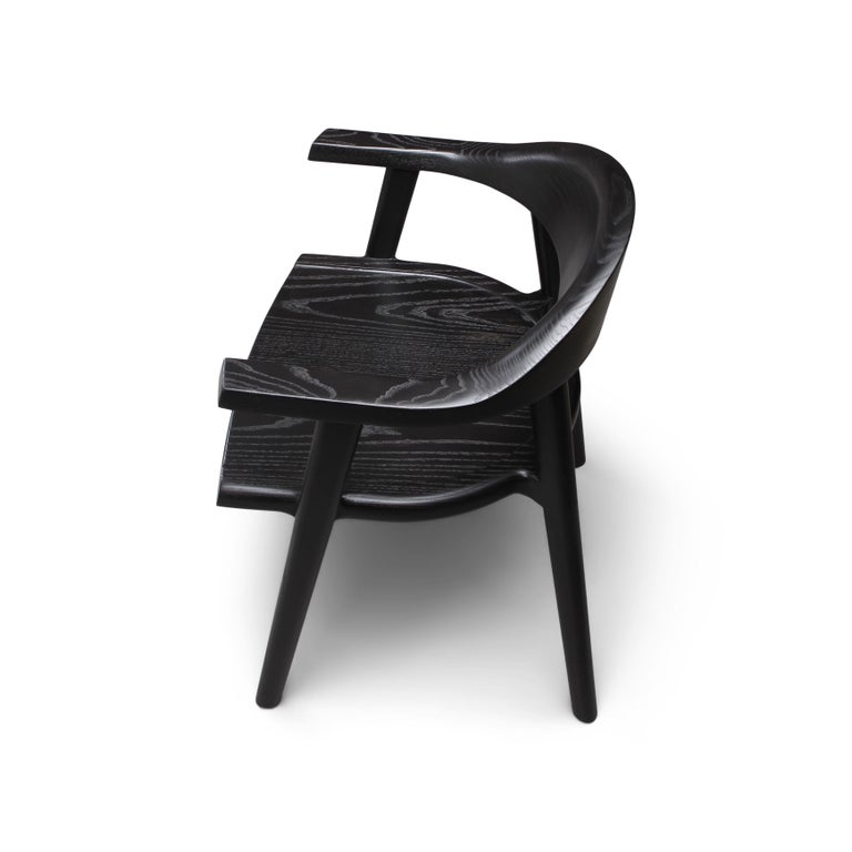 Solid Wood Karve Dining Chair in Black Ash by Möbius Objects In New Condition For Sale In Calgary, CA
