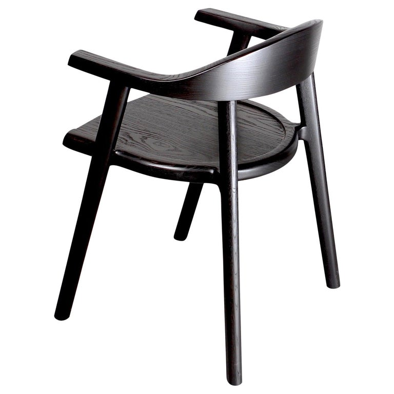 Solid Wood Karve Dining Chair in Black Ash by Möbius Objects For Sale