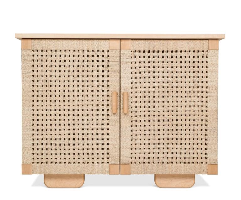 Solid Wood Midcentury Michael van Beuren Credenza with Woven Doors by Luteca 2