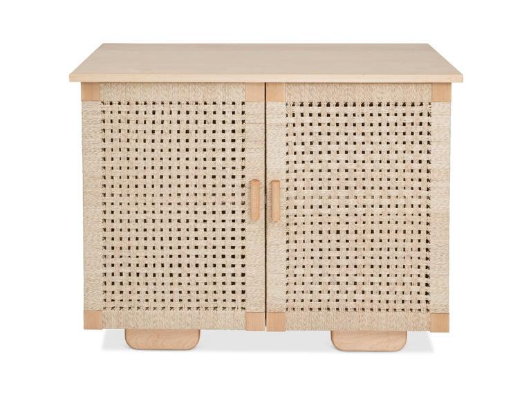 Solid Wood Midcentury Michael van Beuren Credenza with Woven Doors by Luteca 5
