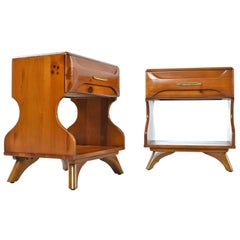 """Solid Wood """"Sculptured Pine"""" Nightstand End Tables by Franklin Shockey, 1950s"""