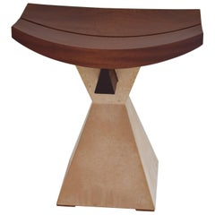 Solid Wood Stool with Concrete Base Modern