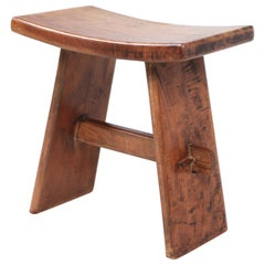 Solid Wood Tabouret from the French Savoy Alps, 1960s