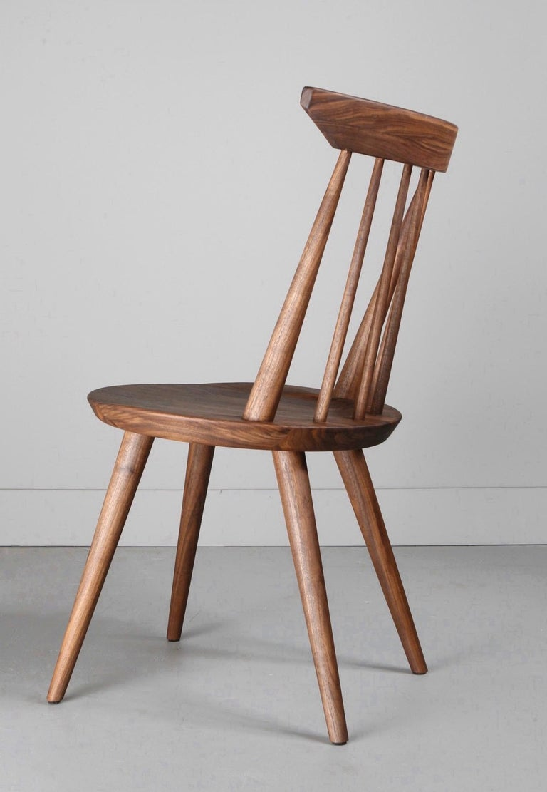 American Craftsman Solid Wood Windsor Style Dining Chair, Spindle Back Chair by Möbius Objects For Sale