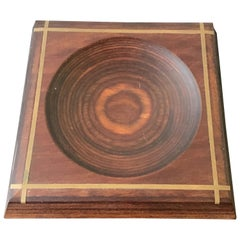 Solid Wood with Brass Inlay Coin Dish
