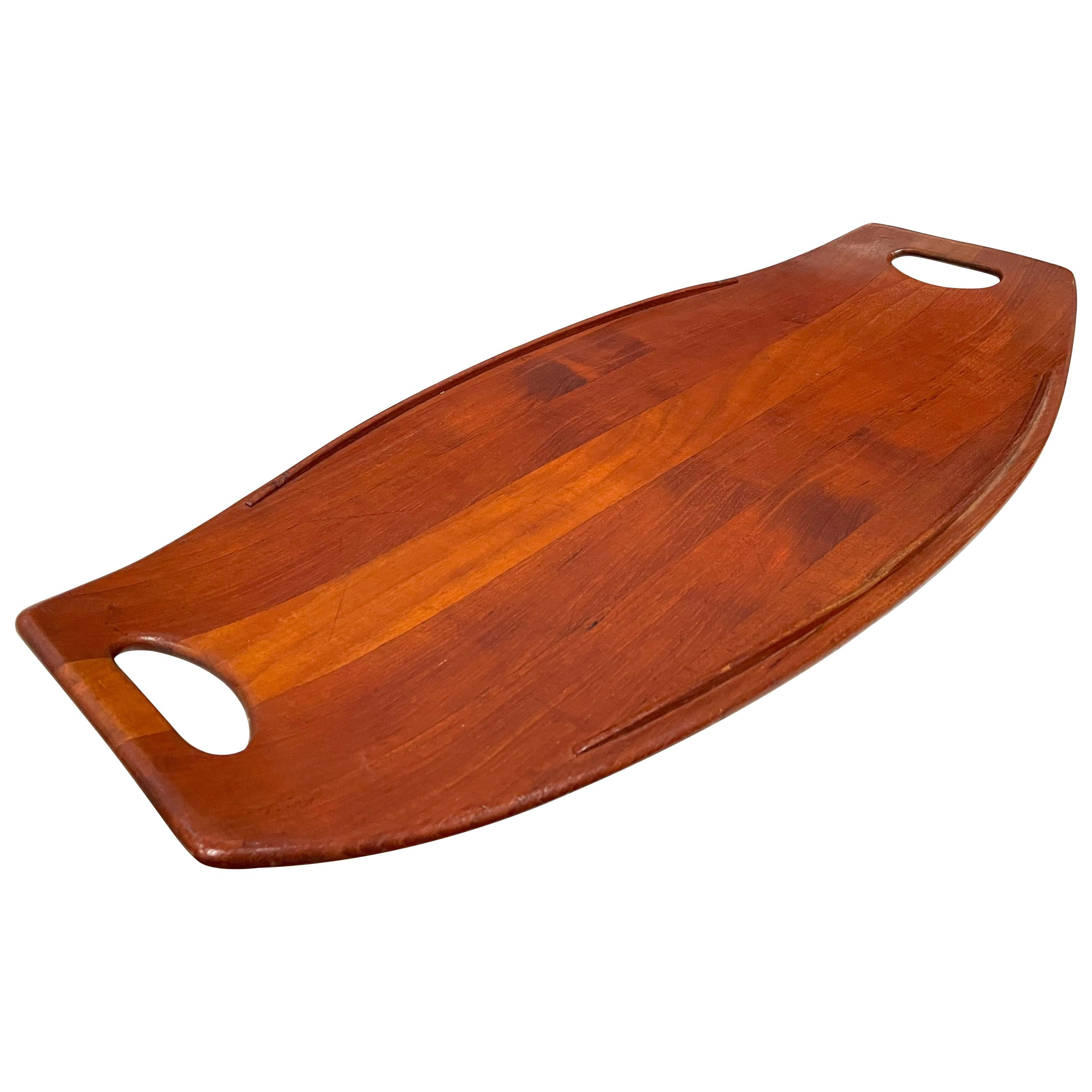 Solid Xlarge Teak Gondola Tray Designed by Quistgaard for Dansk Early Production