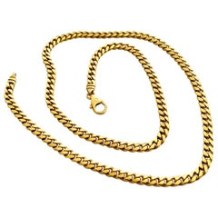 Solid Yellow Gold Curb Link Necklace