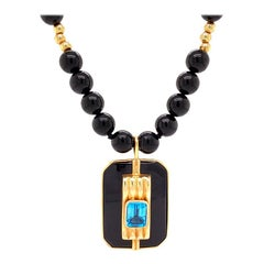 Solid Yellow Gold Genuine Blue Topaz and Black Onyx Beaded Necklace 39.0g