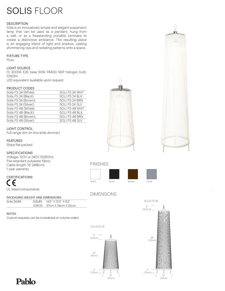 Contemporary Solis 48 Freestanding Lamp in Silver by Pablo Designs For Sale