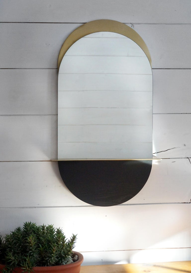 Canadian Solis Mirror, Small, in Blackened Ash and Plated Brass, 1stdibs New York For Sale