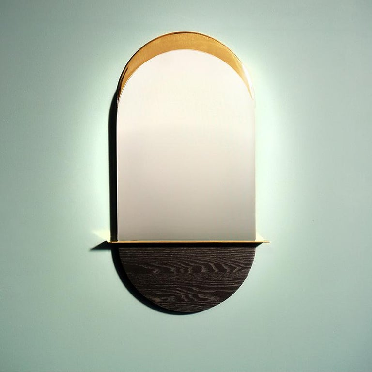 Solis Mirror, Small, in Blackened Ash and Plated Brass, 1stdibs New York In New Condition For Sale In Firenze, IT