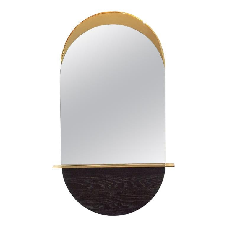 Solis Mirror, Small, in Blackened Ash and Plated Brass, 1stdibs New York For Sale