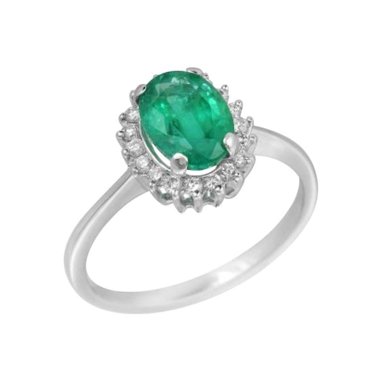 Solitaire 1.4 Carat Emerald White Diamond Gold Ring For Sale