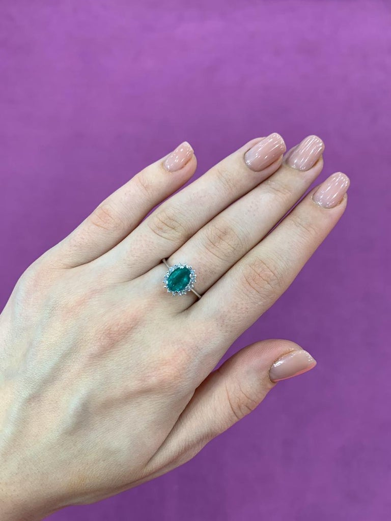 Ring  Gold 14 K Diamond 18-Round 57-0,209-3/5A Emerald 1-Oval-1,445 4/(5)З₁A Weight 2,21 Size 17  With a heritage of ancient fine Swiss jewelry traditions, NATKINA is a Geneva based jewellery brand, which creates modern jewellery masterpieces