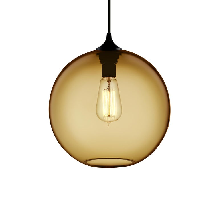 American Solitaire Amber Handblown Modern Glass Pendant Light, Made in the USA For Sale
