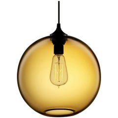 Solitaire Amber Handblown Modern Glass Pendant Light, Made in the USA